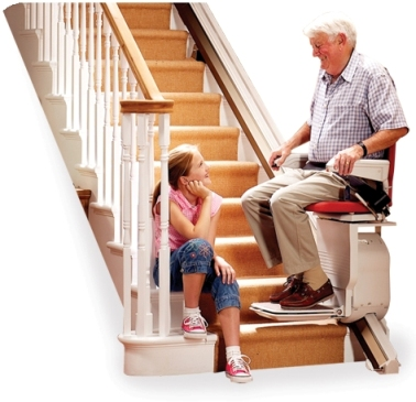 stairlift man with granddaughter