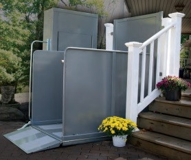 The Sterling 9000 is a weatherproof, safe vertical wheelchair lift for outdoor use.
