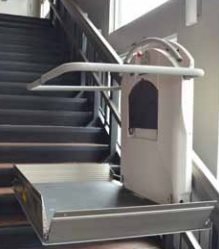 The Xpress II is an inclined wheelchair lift that can be folded compactly when unused.