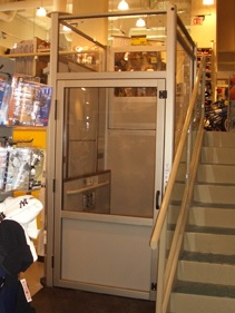 The Genesis Enclosure vertical wheelchair lift makes your commercial property more accessible from inside and out.